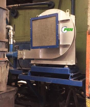 ventilatore bruciatori installato su struttura metallica